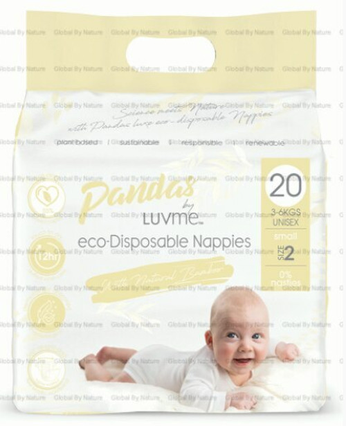 Pandas by Luvme ECO Displayosable Nappies Small (3 6kgs) 20 Packet