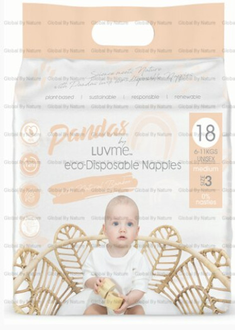 Pandas by Luvme ECO Displayosable Nappies Medium (6-11kg s) 18 Packet
