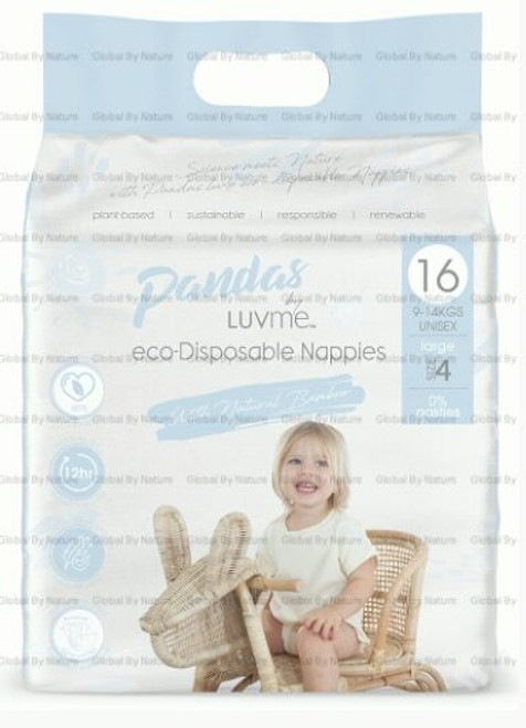 Pandas by Luvme ECO Displayosable Nappies Large (9 14kgs) 16 Packet