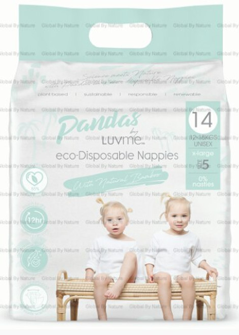 Pandas by Luvme ECO Displayosable Nappies Xlarge (12 18kgs) 14 Packet