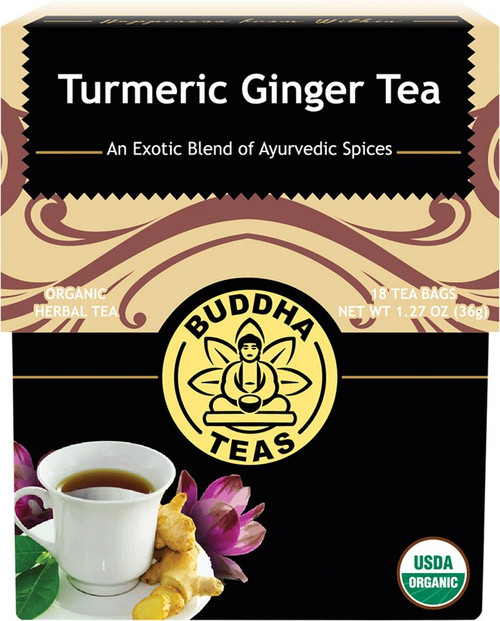Buddha Teas Organic Herbal Tea Bags Turmeric Ginger Tea x18