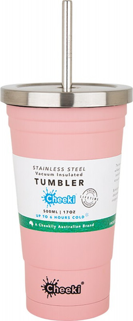 Cheeki Insulated Tumbler Pink - With S/Steel Straw 500ml