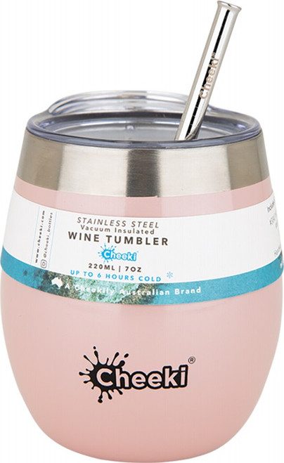 Cheeki Insulated Wine Tumbler Pink Champagne - with S/Steel Straw 220ml