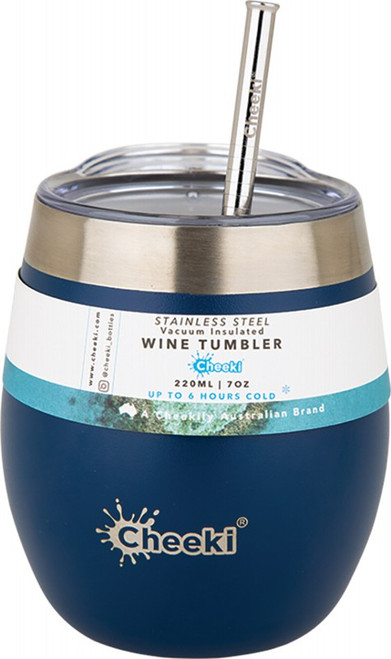 Cheeki Insulated Wine Tumbler Sapphire Blue - with S/Steel Straw 220ml