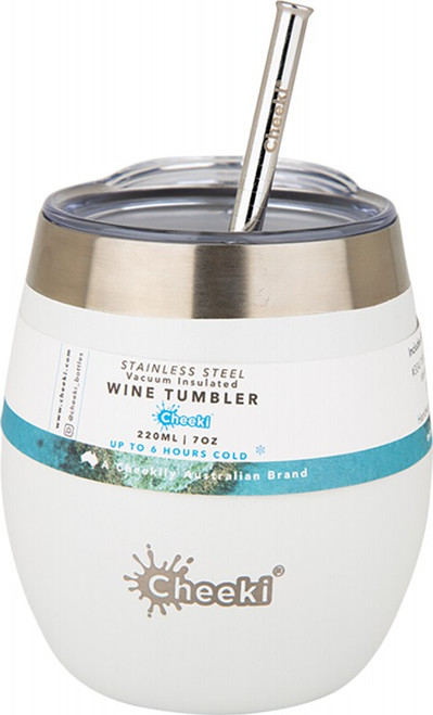 Cheeki Insulated Wine Tumbler Spirit White - With S/Steel Straw 220ml