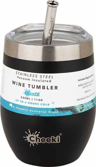 Cheeki Insulated Wine Tumbler Rich Black - With S/Steel Straw 320ml