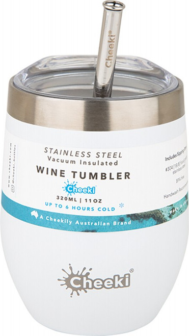 Cheeki Insulated Wine Tumbler Spirit White - With S/Steel Straw 320ml