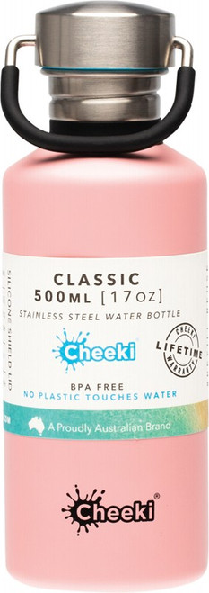 Cheeki Stainless Steel Bottle Pink 500ml