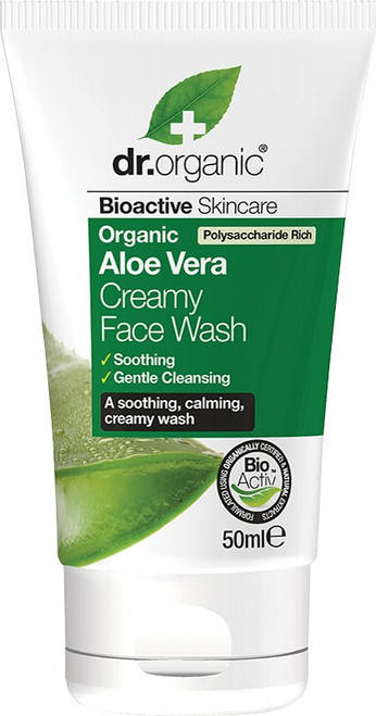 Dr Organic Creamy Face Wash (Mini) Organic Aloe Vera 50ml
