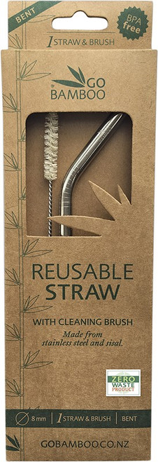 Go Bamboo Stainless Steel Straw With Sisal Cleaning Brush x1