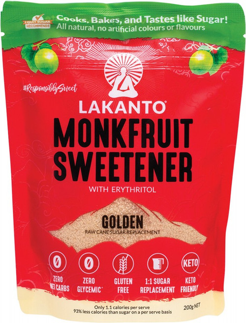Lakanto Golden - Monkfruit Sweetener Raw Cane Sugar Replacement 200g