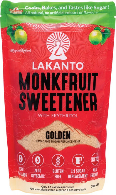 Lakanto Golden - Monkfruit Sweetener Raw Cane Sugar Replacement 500g
