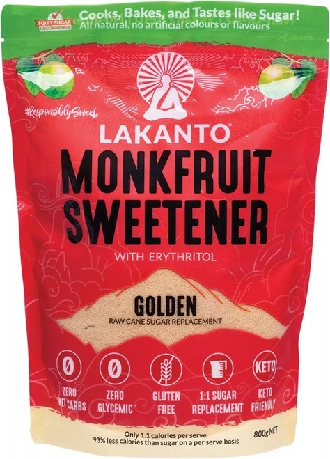 Lakanto Golden - Monkfruit Sweetener Raw Cane Sugar Replacement 800g