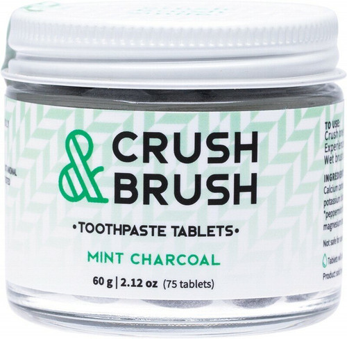 Nelson Naturals INC. Crush & Brush Toothpaste Tablets Mint Charcoal 60g