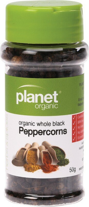Planet Organic Spices Black Whole Peppercorns 50g