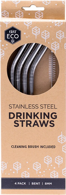 Ever Eco Stainless Steel Straws - Bent Includes Cleaning Brush x4