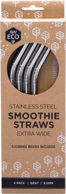 Ever Eco Smoothie Straws - Bent Stainless Steel + Cleaning Brush x4