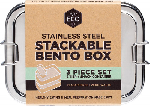 Ever Eco Stainless Steel Stackable Bento 2 Tier + Mini Snack Container 1200ml