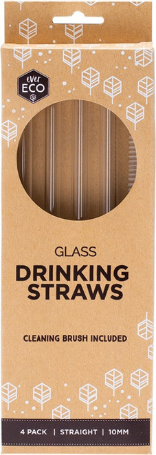 Ever Eco Glass Straws - Straight Includes Cleaning Brush x4