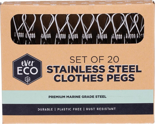 Ever Eco Stainless Steel Clothes Pegs Premium Marine Grade x20