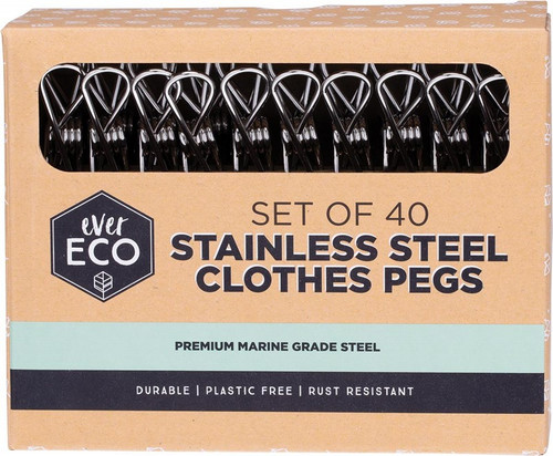 Ever Eco Stainless Steel Clothes Pegs Premium Marine Grade x40