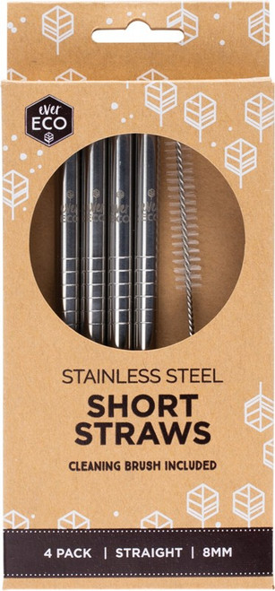 Ever Eco Stainless Steel Short Straws Includes Cleaning Brush x4