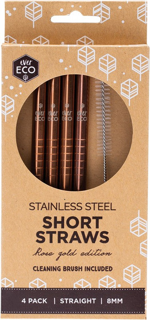 Ever Eco Stainless Steel Short Straws Rose Gold + Cleaning Brush x4