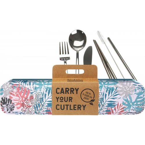 Retrokitchen Carry Your Cutlery Palm Fronds Stainless Steel Cutlery Set x 1