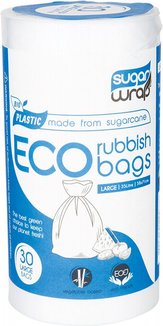 Sugarwrap Eco Rubbish Bags Made from Sugarcane - Large 35L x30