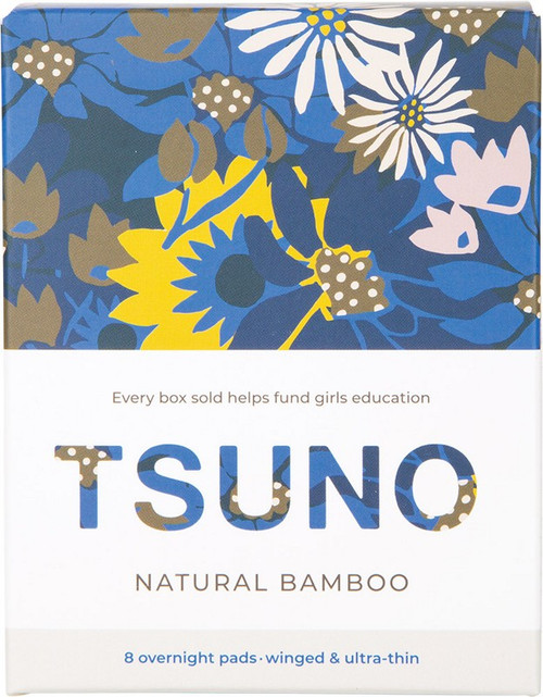 Tsuno Natural Bamboo Pads Overnight (Winged & Ultra-Thin) x8