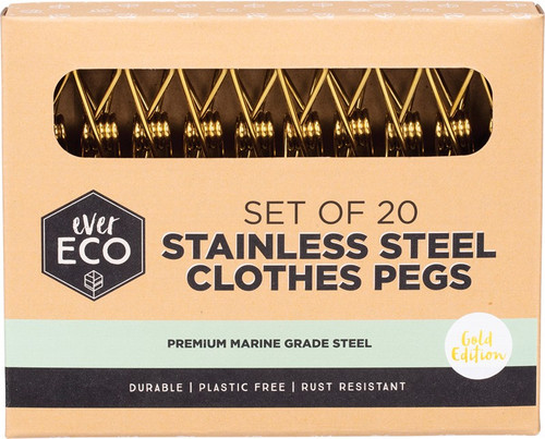 Ever Eco Stainless Steel Clothes Pegs Premium Marine Grade Gold x 20