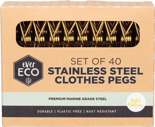 Ever Eco Stainless Steel Clothes Pegs Premium Marine Grade Gold x 40