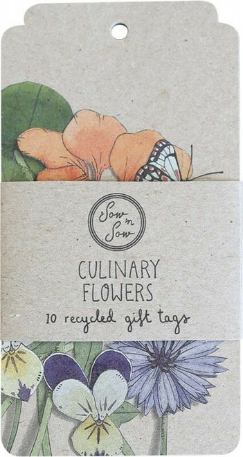 SOW 'N SOW Recycled Gift Tags 10 Pack Culinary Flowers x 10