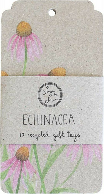 SOW 'N SOW Recycled Gift Tags 10 Pack Echinacea x10