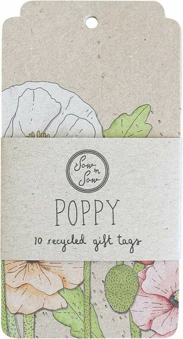 SOW 'N SOW Recycled Gift Tags 10 Pack Poppy x10