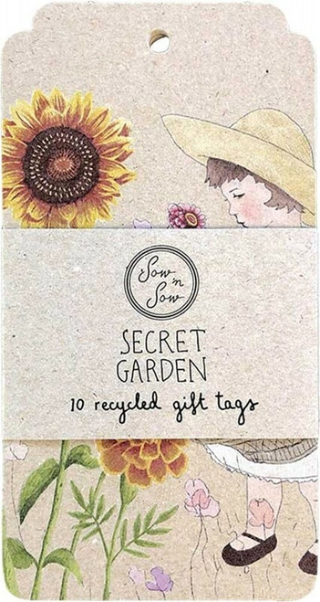SOW 'N SOW Recycled Gift Tags 10 Pack Secret Garden x10