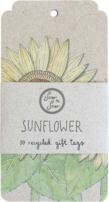 SOW 'N SOW Recycled Gift Tags 10 Pack Sunflower x10
