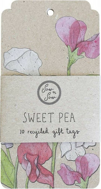SOW 'N SOW Recycled Gift Tags 10 Pack Sweet Pea x10
