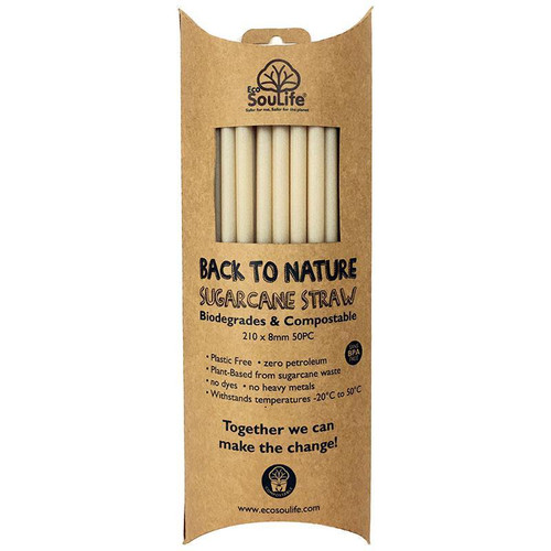 Eco SouLife Back to Nature Sugar Cane Straw 50pc