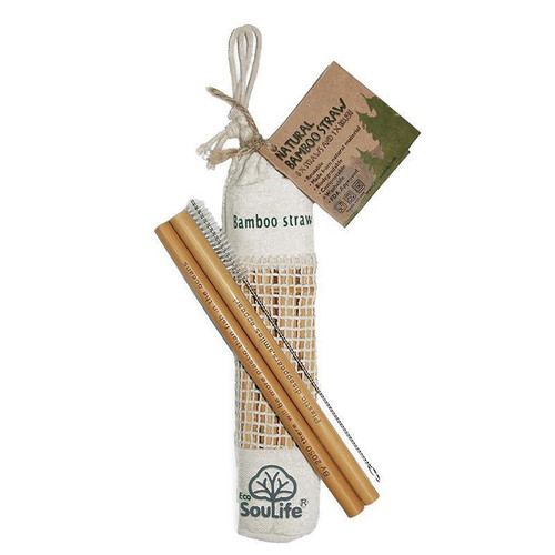 Eco SouLife Bamboo Straw 8pc with Brush in canvas bag