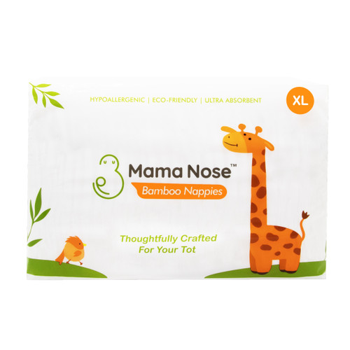 Mama Nose Eco-Friendly Bamboo Nappies - Xlarge Size (12 to 18kg) x 6