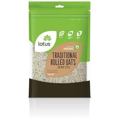 Oats Traditional Rolled Creamy Style Organic 750g Lotus
