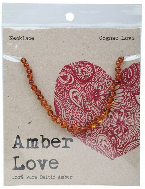 Amber Love Children's Necklace Baltic Amber Cognac Love 33cm