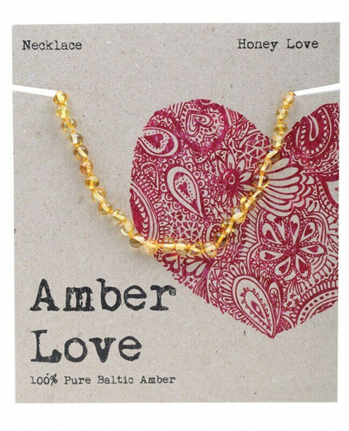 AMBER LOVE Children's Necklace 100% Baltic Amber - Honey Love 33cm