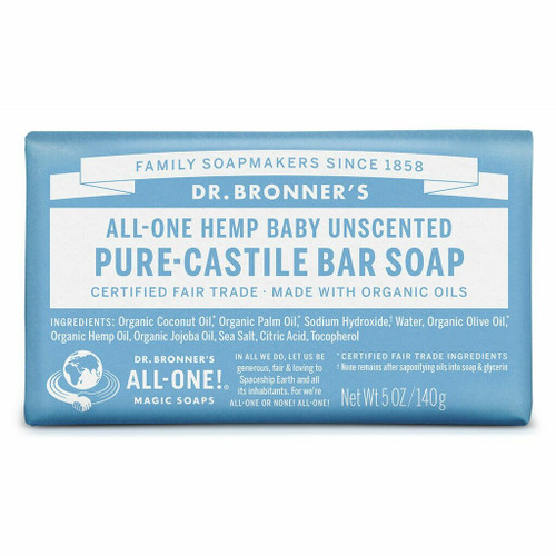 Dr. Bronner's Unscented Baby-Mild Organic Bar Soap 140g