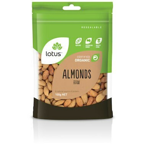 Almonds Raw Organic 100g Lotus