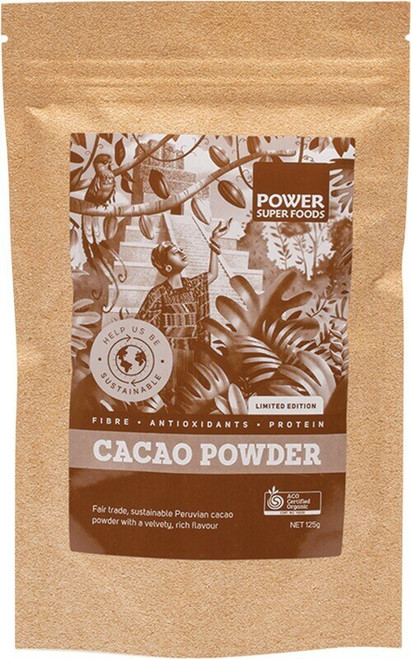 Power Super Foods Cacao Powder 125g (Kraft bag)