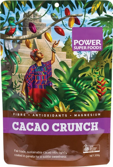 """POWER SUPER FOODS Cacao Crunch (Sweet Cacao Nibs) """"The Origin Series"""" 200g"""