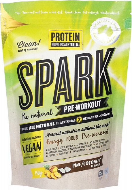 Spark All Natural Pre Workout Protein Supplies Australia Coconut Pine 200g