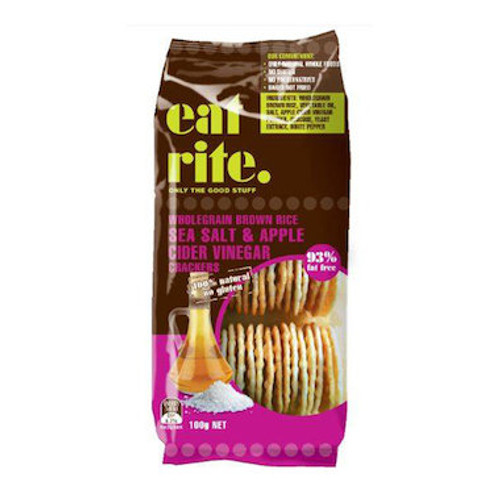 EATRITE Crackers Brown Rice - Sea Salt & Apple Cider Vinegar 100g